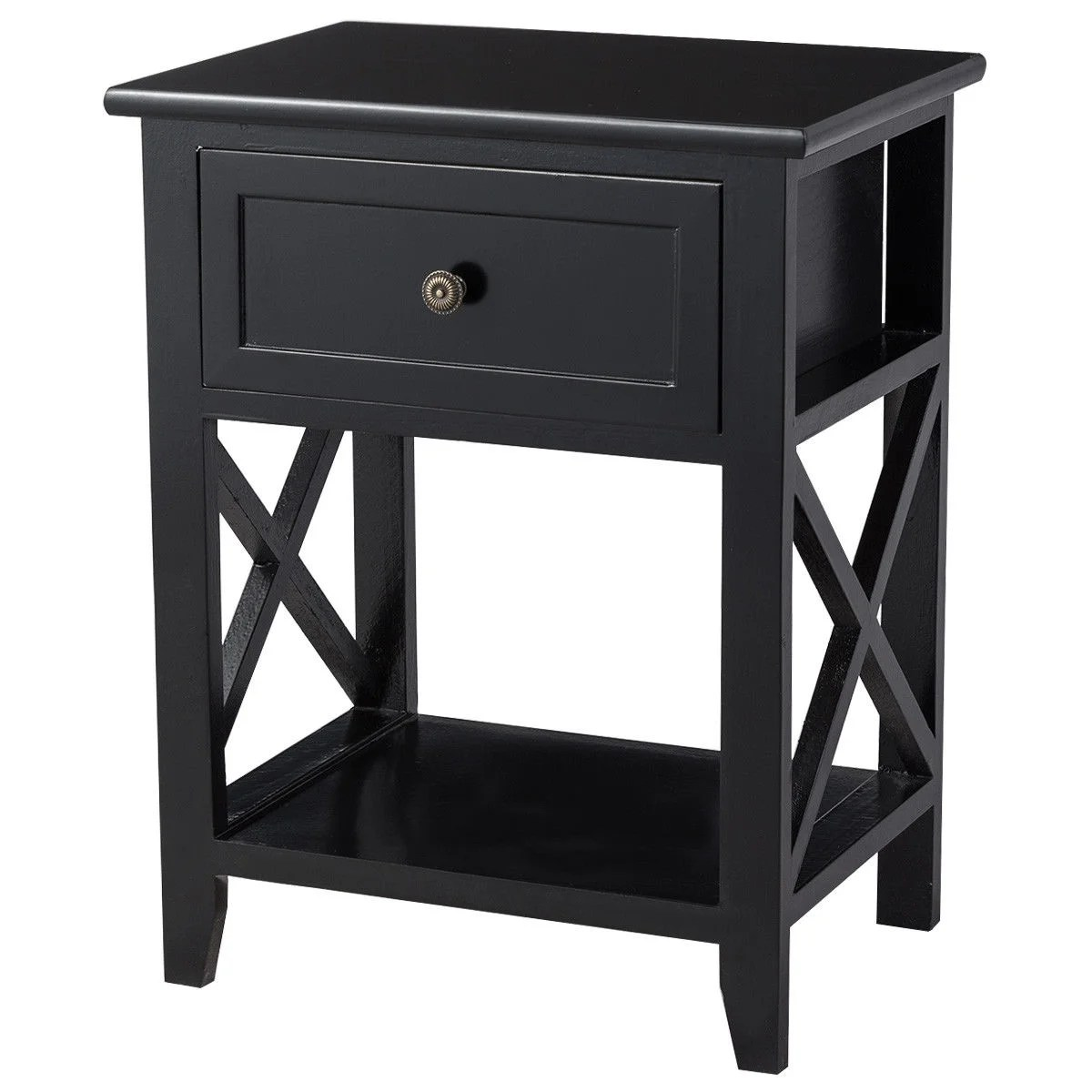 Black End Tables With Drawer Costway End Bedside Table Nightstand Drawer Storage Room Decor W Bottom Shelf Black