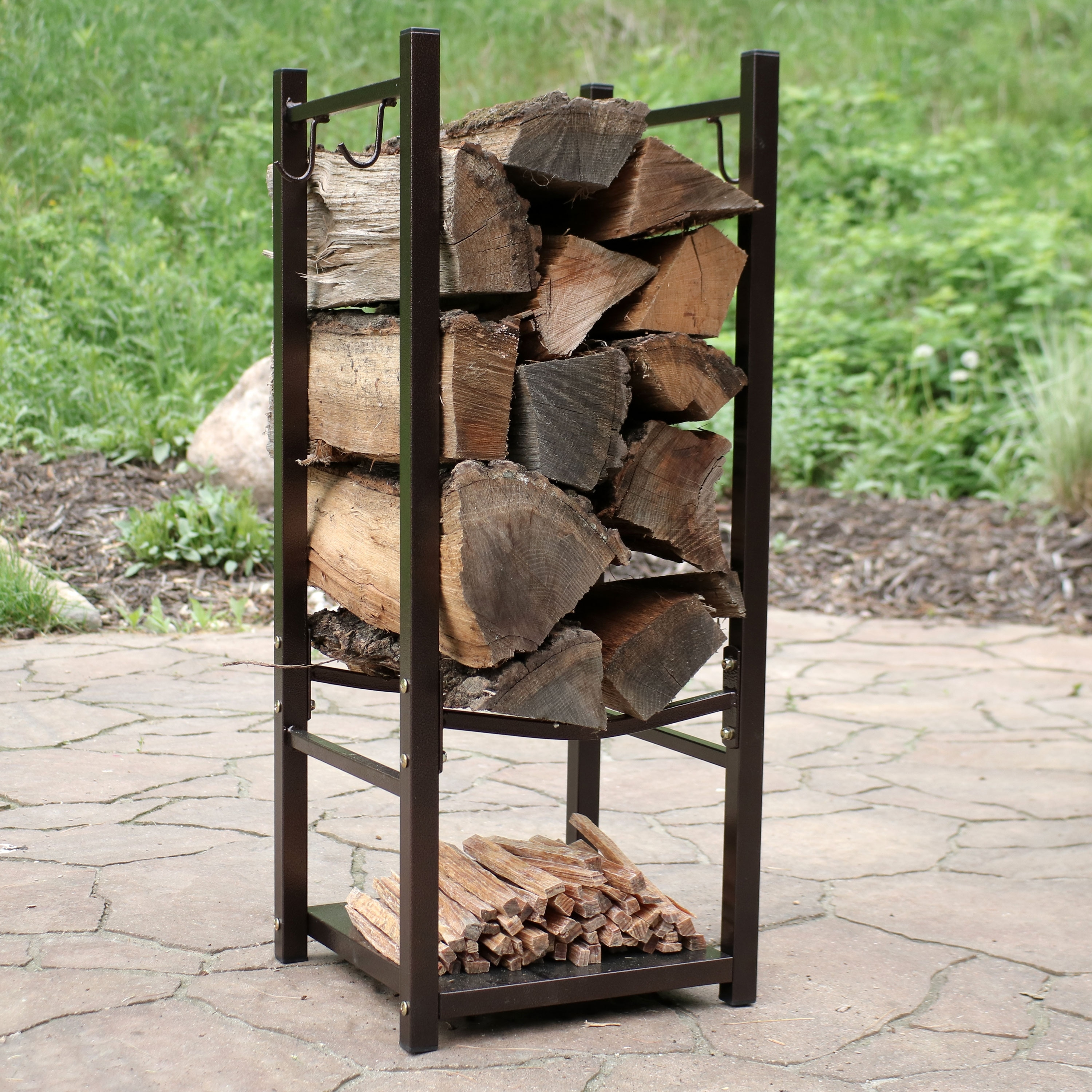 Outdoor Firewood Rack Sunnydaze Indoor Outdoor Firewood Fireside Log Rack With Tool Holders Bronze