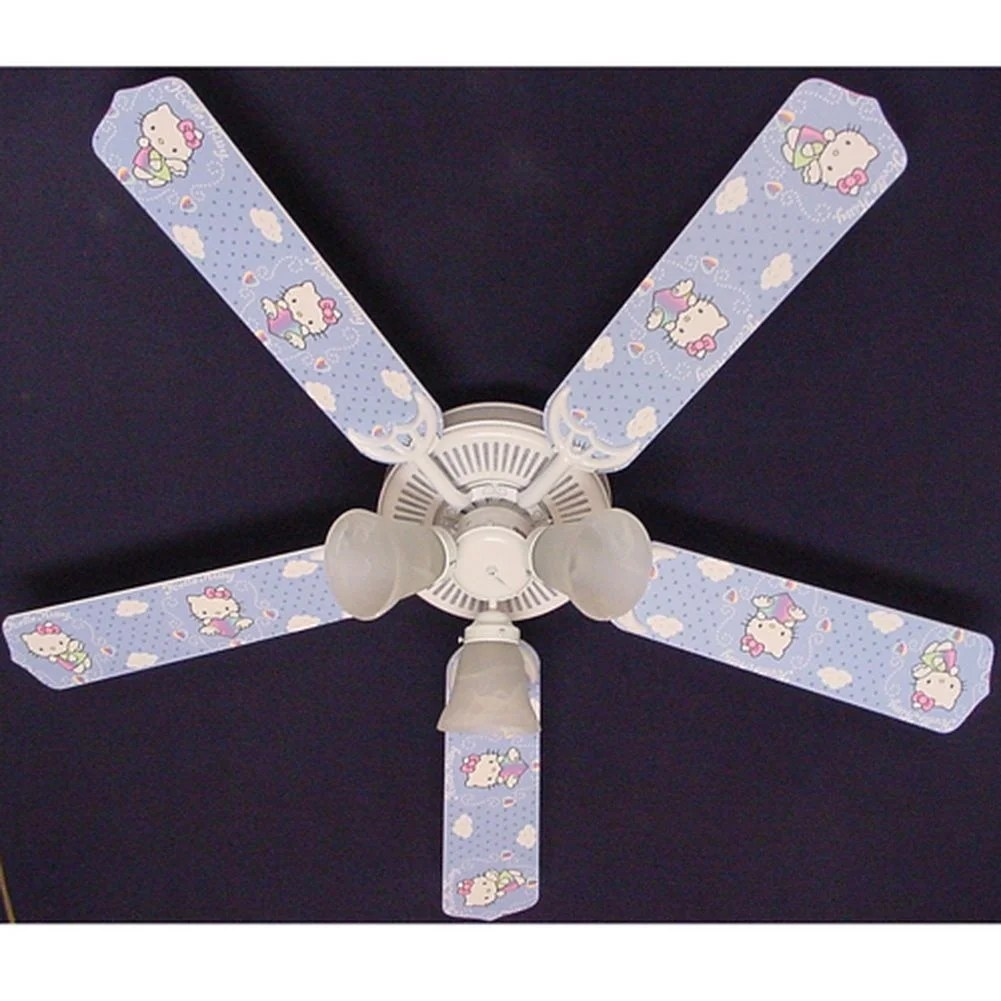 Ceiling Fan Girls Room Trendy Hello Kitty Print Blades 52in Ceiling Fan Light Kit Multi