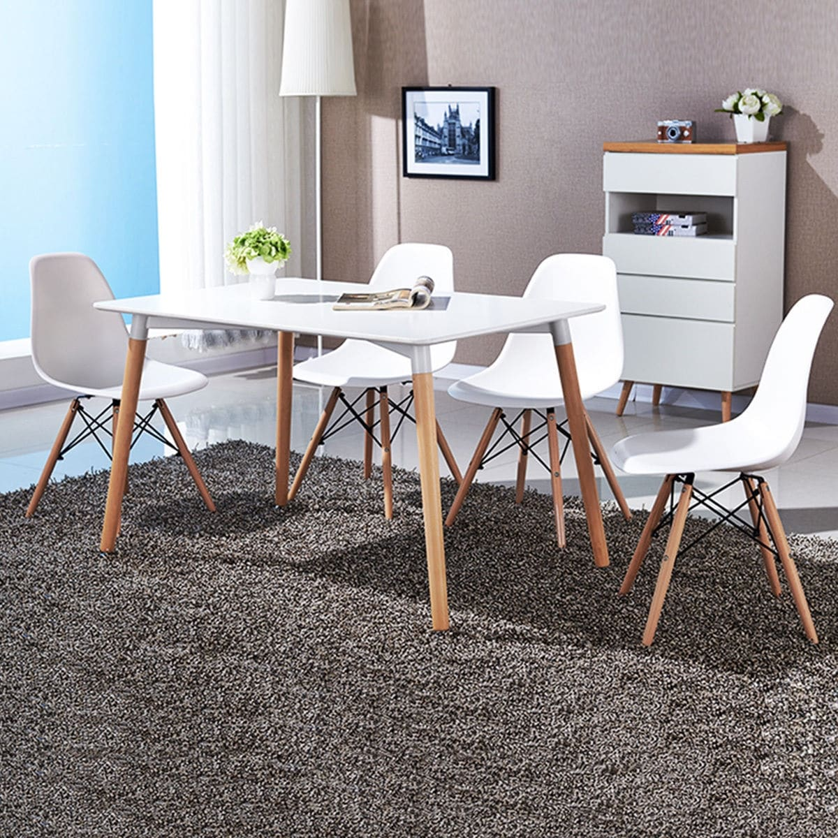 Modern Table And Chairs Costway Set Of 4 Mid Century Modern Style Dsw Dining Side Chair Wood Leg