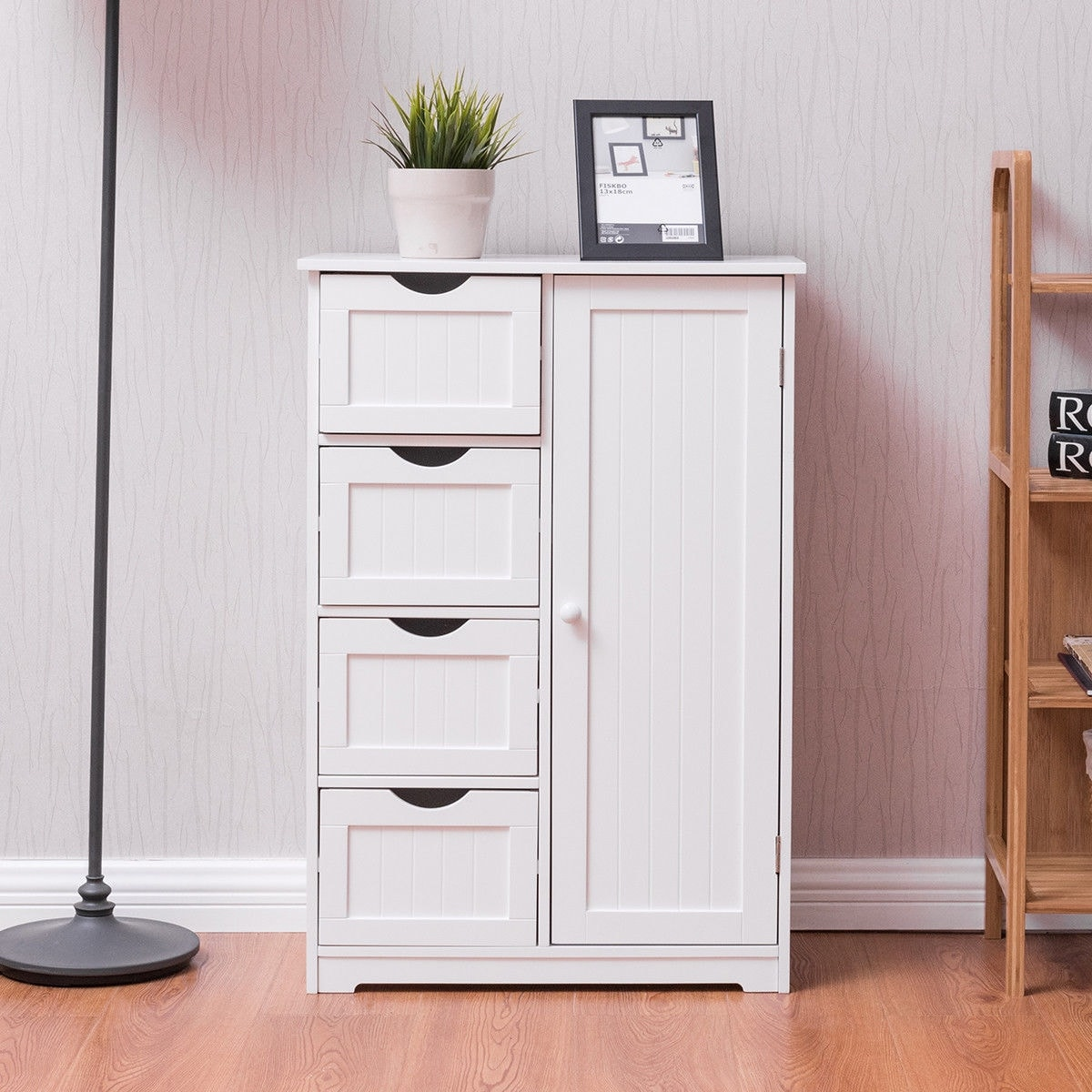 Cupboard Drawers Costway Wooden 4 Drawer Bathroom Cabinet Storage Cupboard 2 Shelves Free Standing White