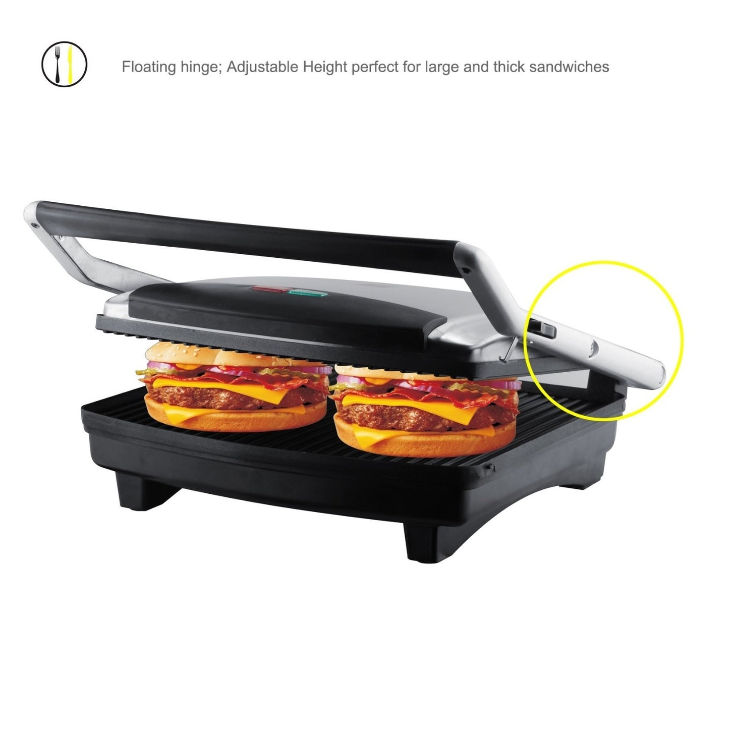 Grille Panini Zz S677 Gourmet Grill Panini And Sandwich Press With Large Cooking Surface 1500w Silver