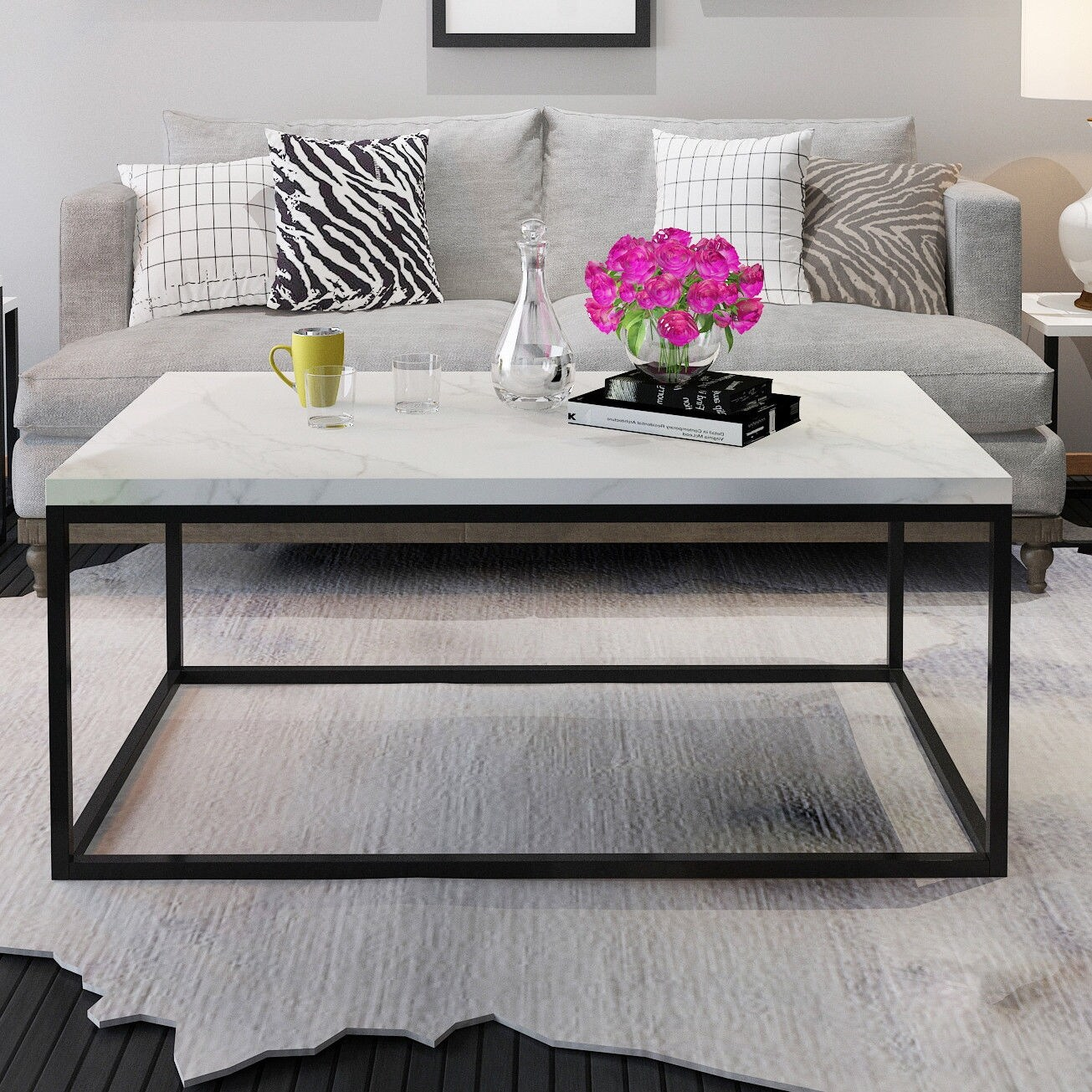Modern Lounge Room Furniture Gymax Modern Rectangular Cocktail Coffee Table Metal Frame Living Room Furniture Black And Marble