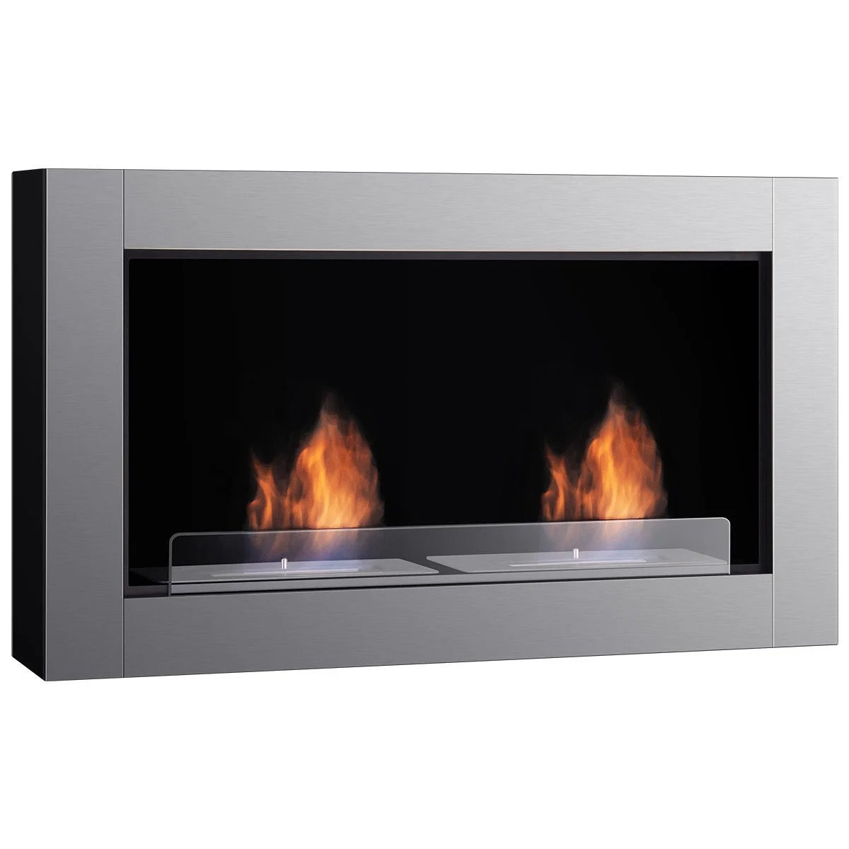 Ethanol Fireplaces Reviews Gymax 38 Inch Wall Mounted Bio Ethanol Fireplace Ventless Dual Burner Fireplace
