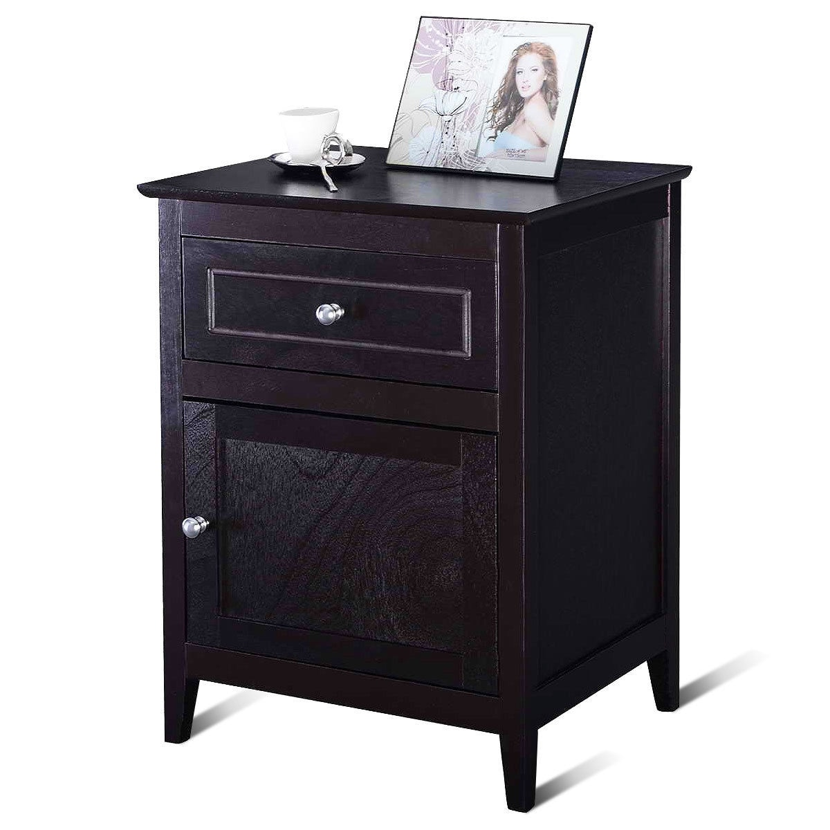 End Table For Living Room Costway End Table Nightstand Living Room Furniture Espresso Beechwood