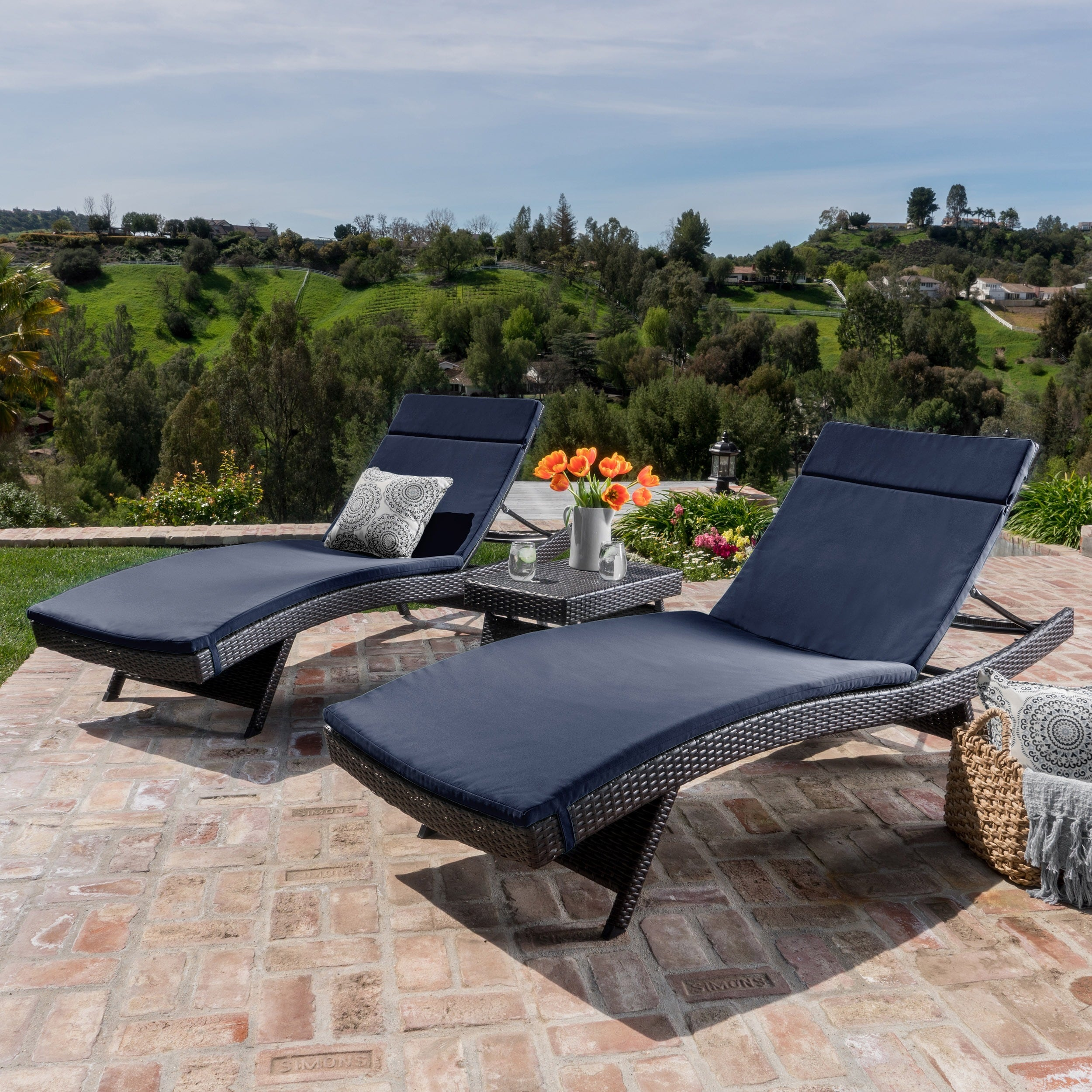 Shop Luana Outdoor 3 Piece Wicker Adjustable Chaise Lounge - Lounger Cushion Cheap