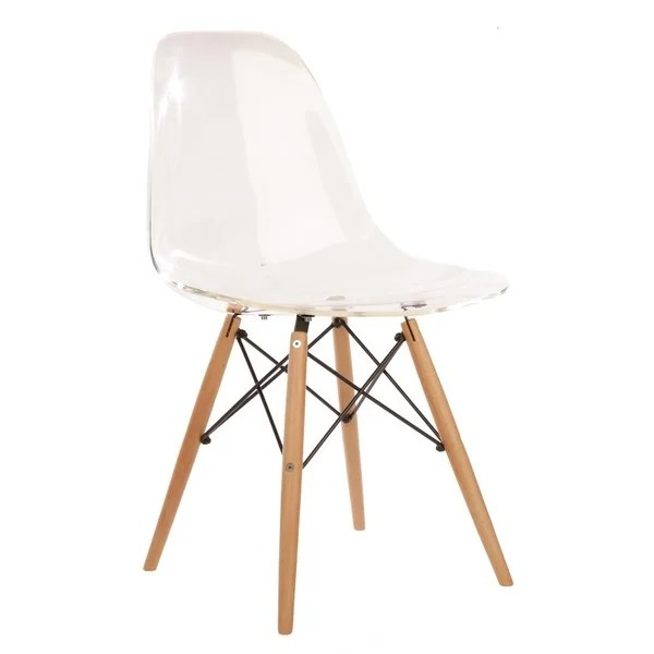 Eames Style Clear Plastic Side Chair With Wood Eiffel Legs - Eames Lounge Pris