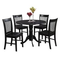 Black Round Kitchen Table and 4 Dinette Chairs 5-piece ...