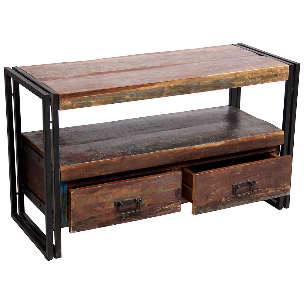 Cabinet Drawers Timbergirl Old Reclaimed Wood Tv Cabinet With Double Drawers 41