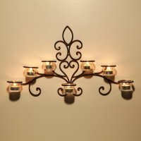 Shop Adeco Iron and Glass Horizontal Wall-hanging 7-light ...