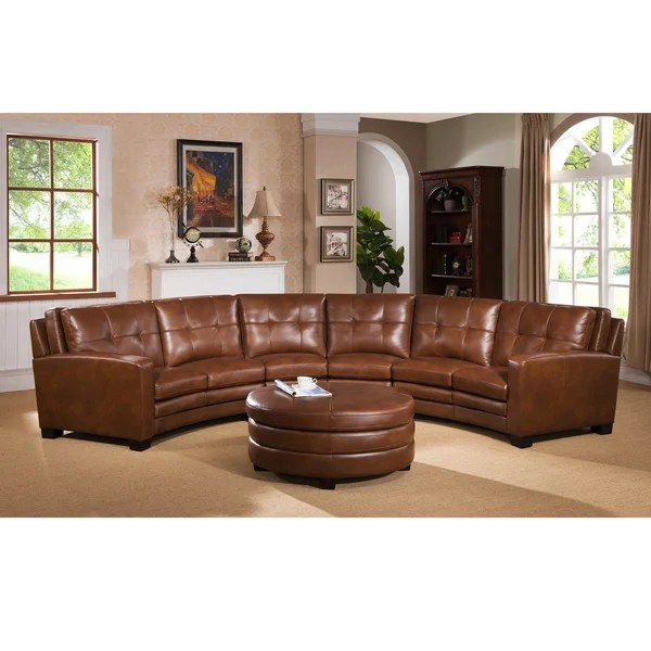 Small Sofas Under $500 Shop Meadows Brown Curved Top Grain Leather Sectional Sofa