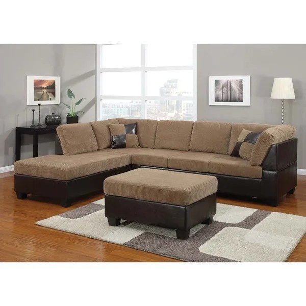 Corduroy Sofa Sectional Bursa Crestline Corduroy Sectional Sofa Set With Pillows