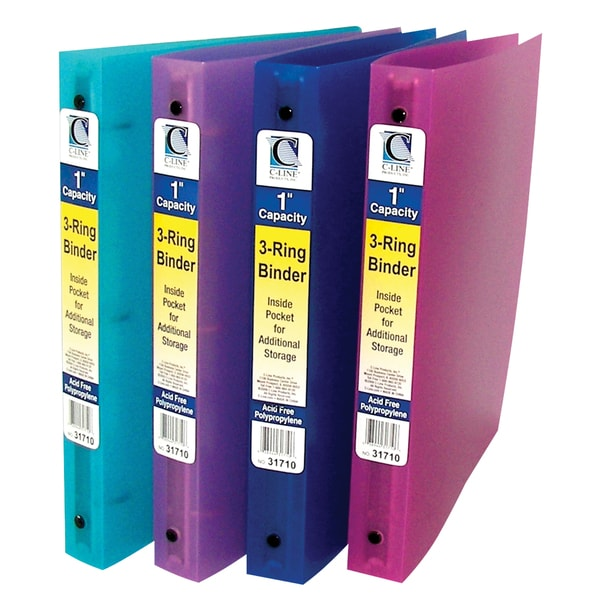Shop C-Line Products 3-Ring Poly Binder, 1 Inch Capacity (Color May - 6 inch binders