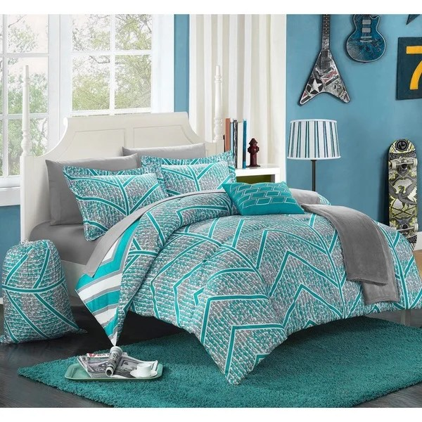 Reversible Duvet Set Shop Chic Home Amaretto Chevron Reversible 10-piece Bed In