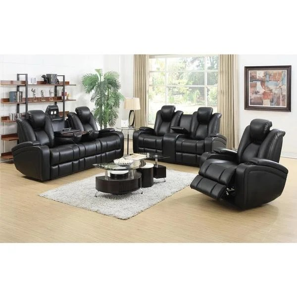 DeNatali 3-piece Black Living Room Set - Free Shipping Today - black living room set