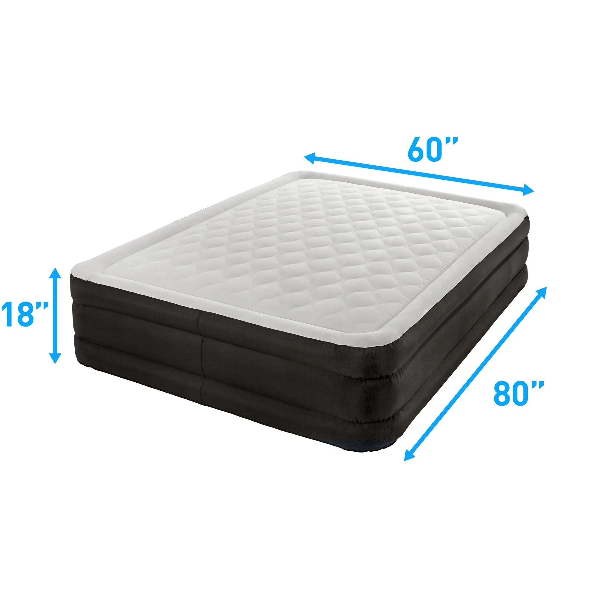 Air Mattress Frame Queen Air Comfort Deep Sleep Queen Raised Air Mattress Puncture Resistant Black