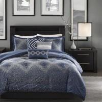 Shop Madison Park Crawford Navy Jacquard 7-piece Comforter ...