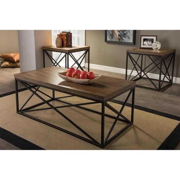 Baxton Studio Holden Vintage Industrial Bronze 3-piece Coffee and - 3 piece living room table set