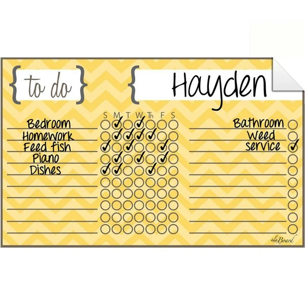 Chevron Yellow Dry Erase Chore Chart Decal - Free Shipping On Orders