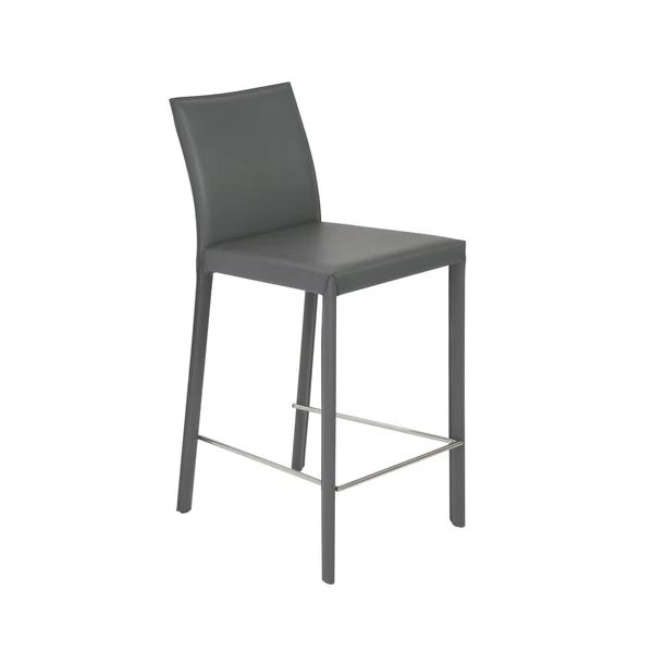 Hasina c grey stainless steel counter stools set of 2