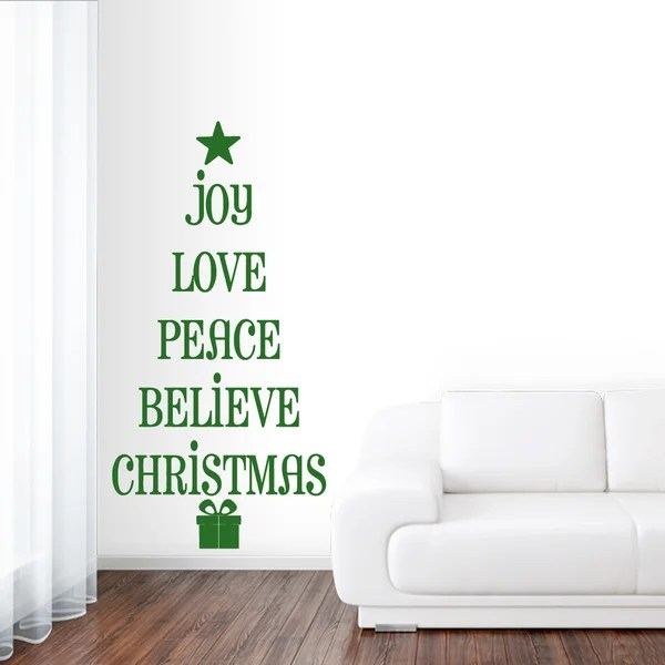 Christmas Tree Words Wall Decal 10 inches wide x 20 inches tall - christmas tree words