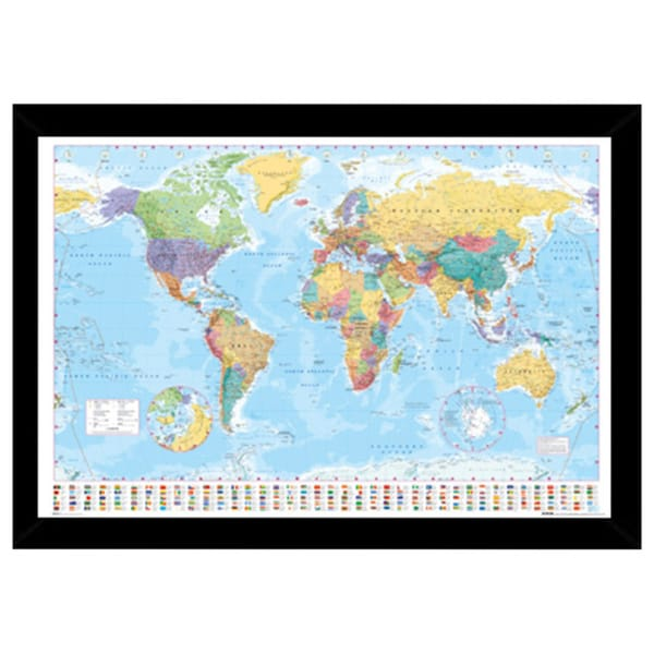 Shop World Map Print with Traditional Black Wood Frame - Free