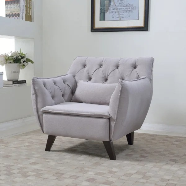 Mid Century Modern Tufted Linen Fabric Accent Living Room Chair - accent living room chair