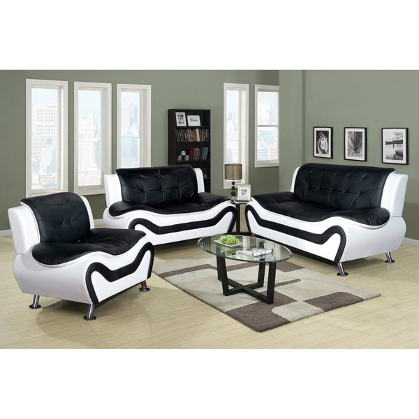 Living Room Sofas Sets Shop Ceccina Modern Leather 3-piece Living Room Sofa Set