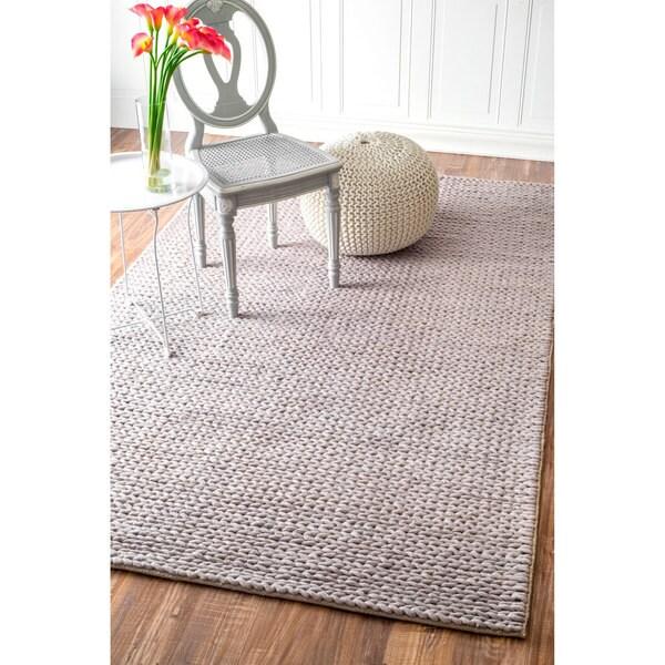Nuloom Handmade Casual Braided Wool Light Grey Rug 339 X 5