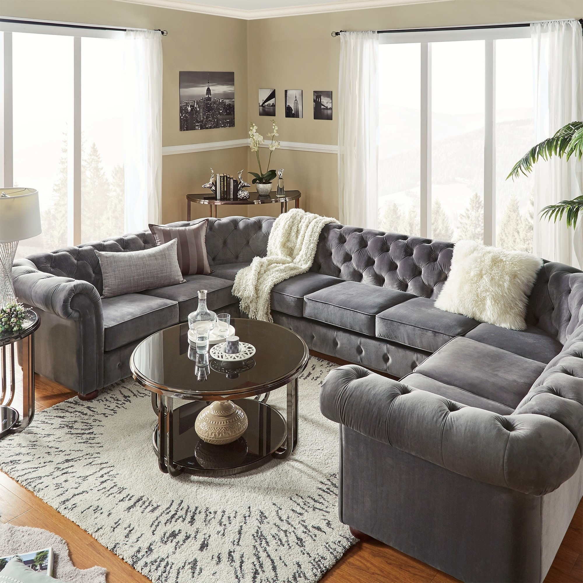 U Couch Knightsbridge Tufted Scroll Arm Chesterfield 9 Seat U Shaped Sectional By Inspire Q Artisan