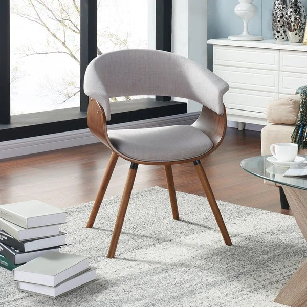 Shop Holt Mid Century Modern Fabric And Bent Wood Accent - Designer Accent Chairs On Sale