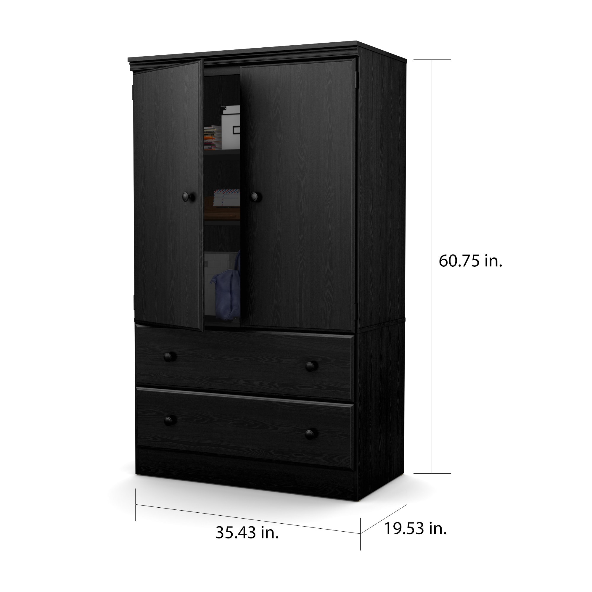 Dimension Armoire South Shore Morgan Two Door Armoire With Drawers 35 4