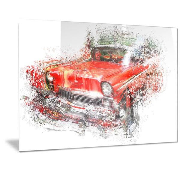 Shop Designart Orange Classic Car Metal Wall Art