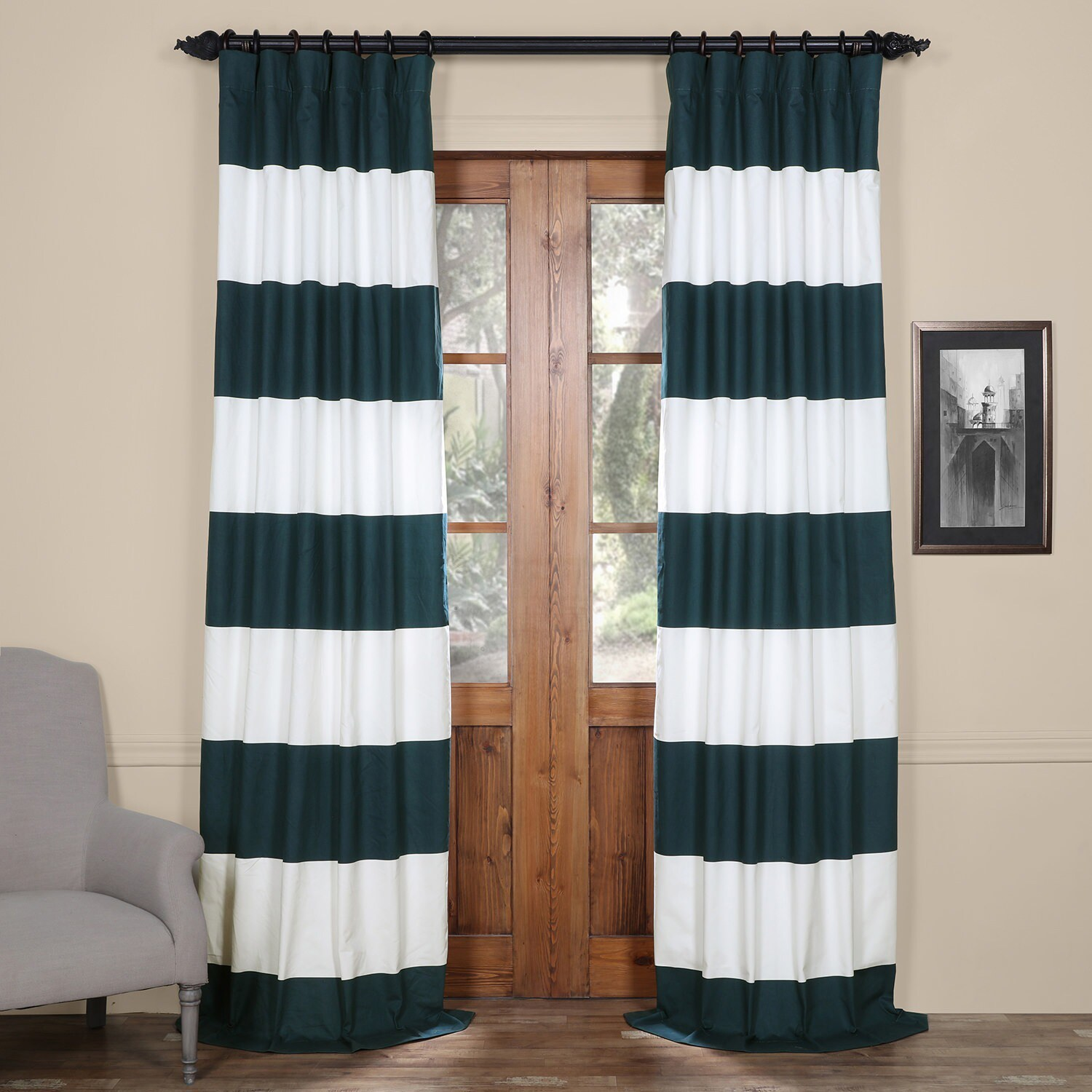 Cotton Curtain Panels Details About Exclusive Fabrics Cabana Cotton Horizontal Stripe 108 Inch Curtain Panel 50 X