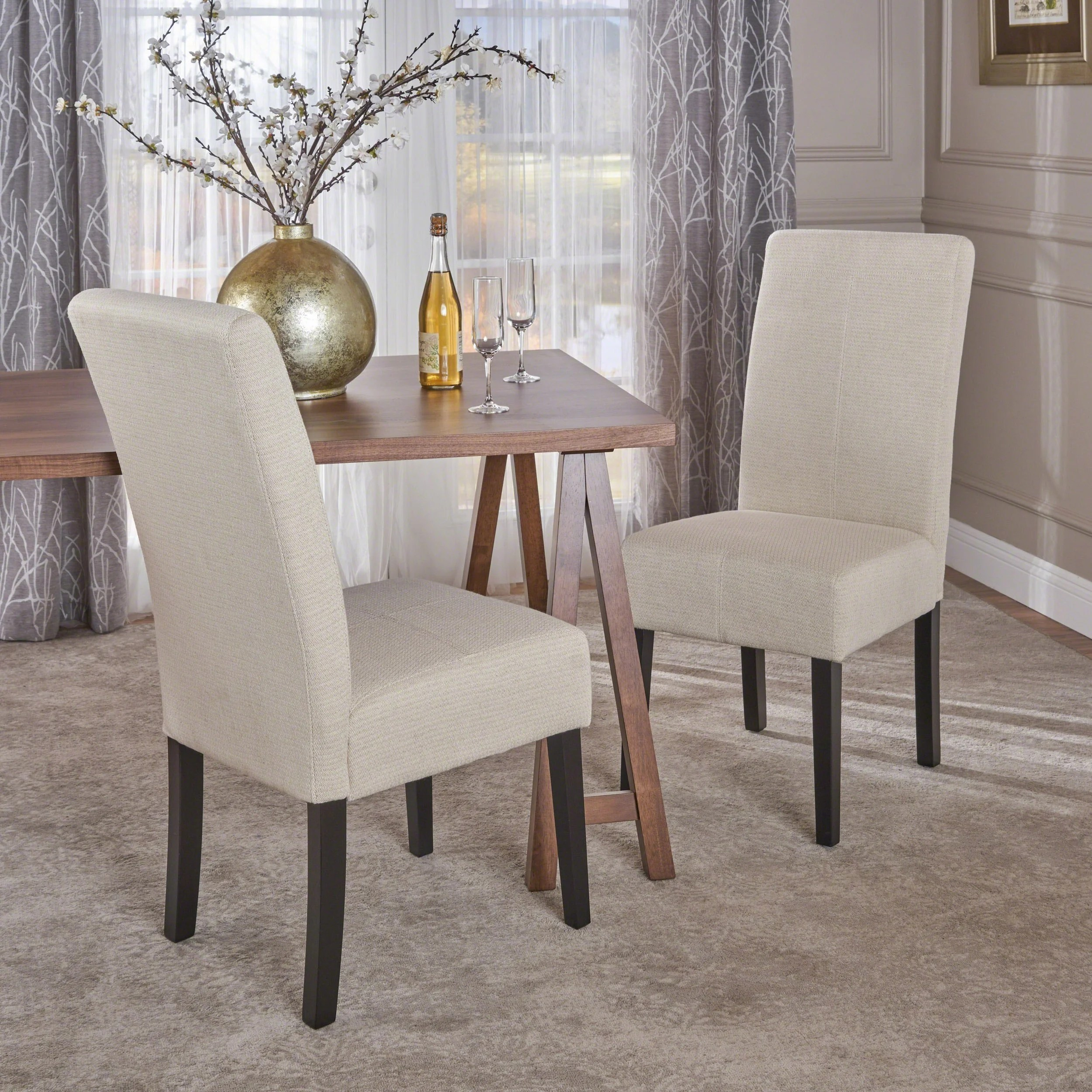 Patterned Dining Room Chairs Details About T Stitch Pattern Beige Fabric Dining Chair Set Of 2 By Christopher Knight Home