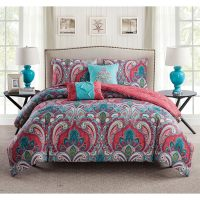 VCNY Casa Re'al Reversible Coral and Turquoise Paisley ...