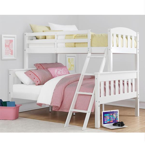 Dorel Living Airlie White Twin Over Full Bunk Bed Free