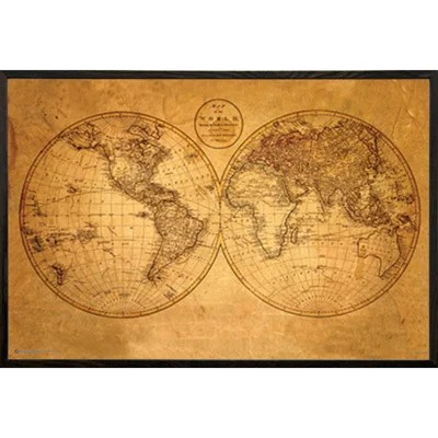 Shop Old World Map\u0027 Framed Print - Free Shipping Today - Overstock
