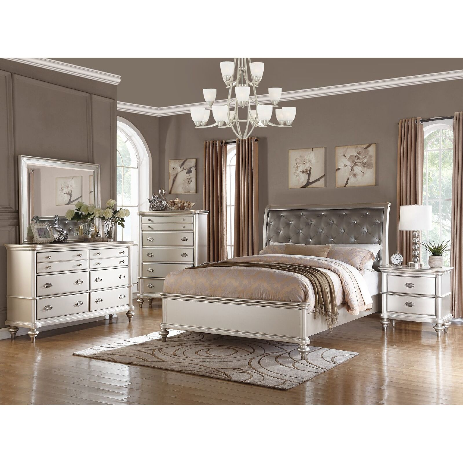 Furniture Overstock Shop Saveria 6 Piece Silver Bedroom Furniture Set Free Shipping