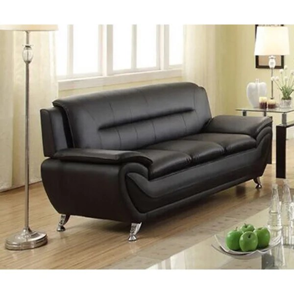 Kunstleder Couch Shop Deliah Modern Contemporary Black Faux Leather Sofa