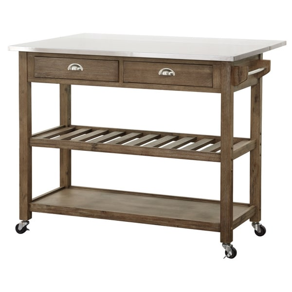 Kosas Home Kitchen Island Boraam Industries Wood And Stainless Steel Drop Leaf