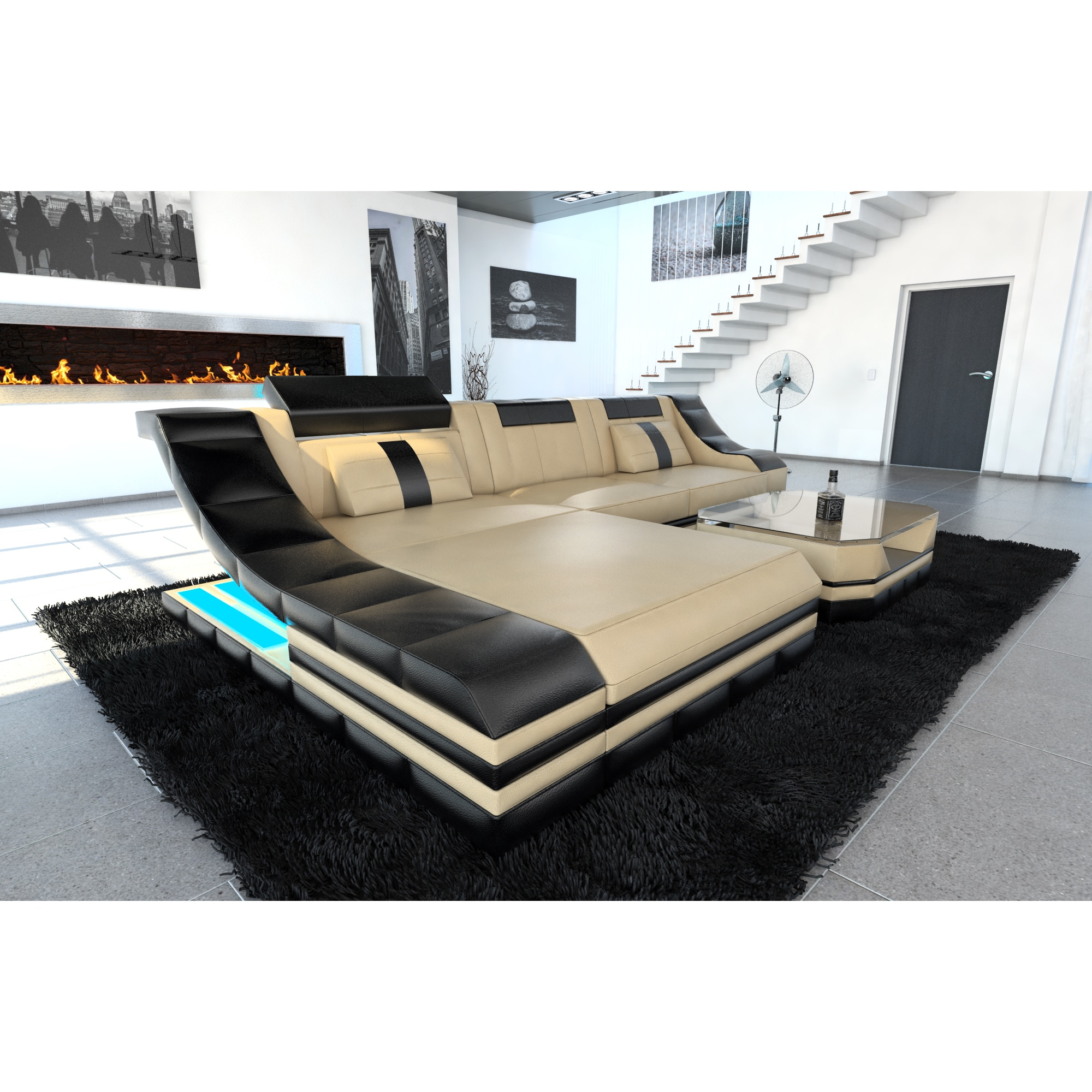 Xxl Sectional Sofa Jacksonville Led Lights U Shaped New York Led Lights Beige Leather L Shaped Sectional Sofa