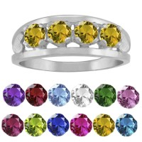 Shop 10K White Gold Round-Cut 4-Stone Hearts Mothers Ring ...