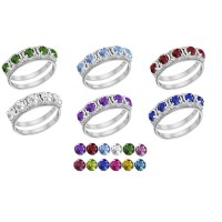 Shop 10K White Gold Round-Cut 5-Stone Mothers Ring - Free ...