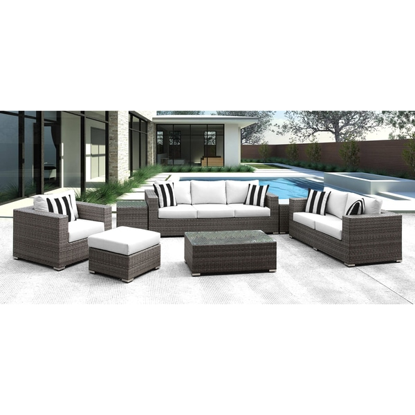 Shop Solis Lusso 7 Piece Outdoor Sofa Grey Wicker Rattan - Sofa Cushions Black And White