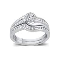 Shop Platinaire 1/3ct TDW White Diamond Halo Bridal Set