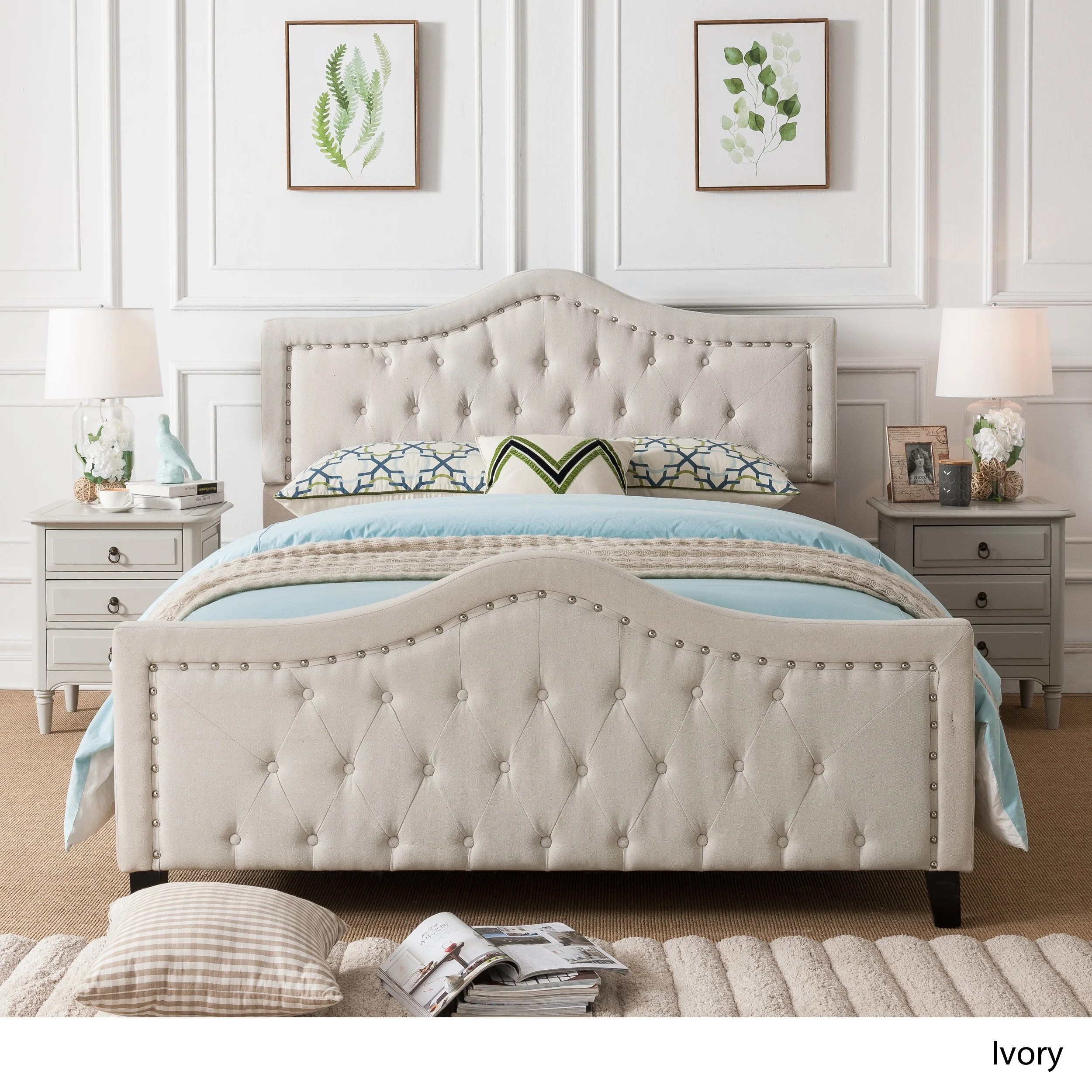 Virgil Upholstered Tufted Fabric Queen Size Bed Set By