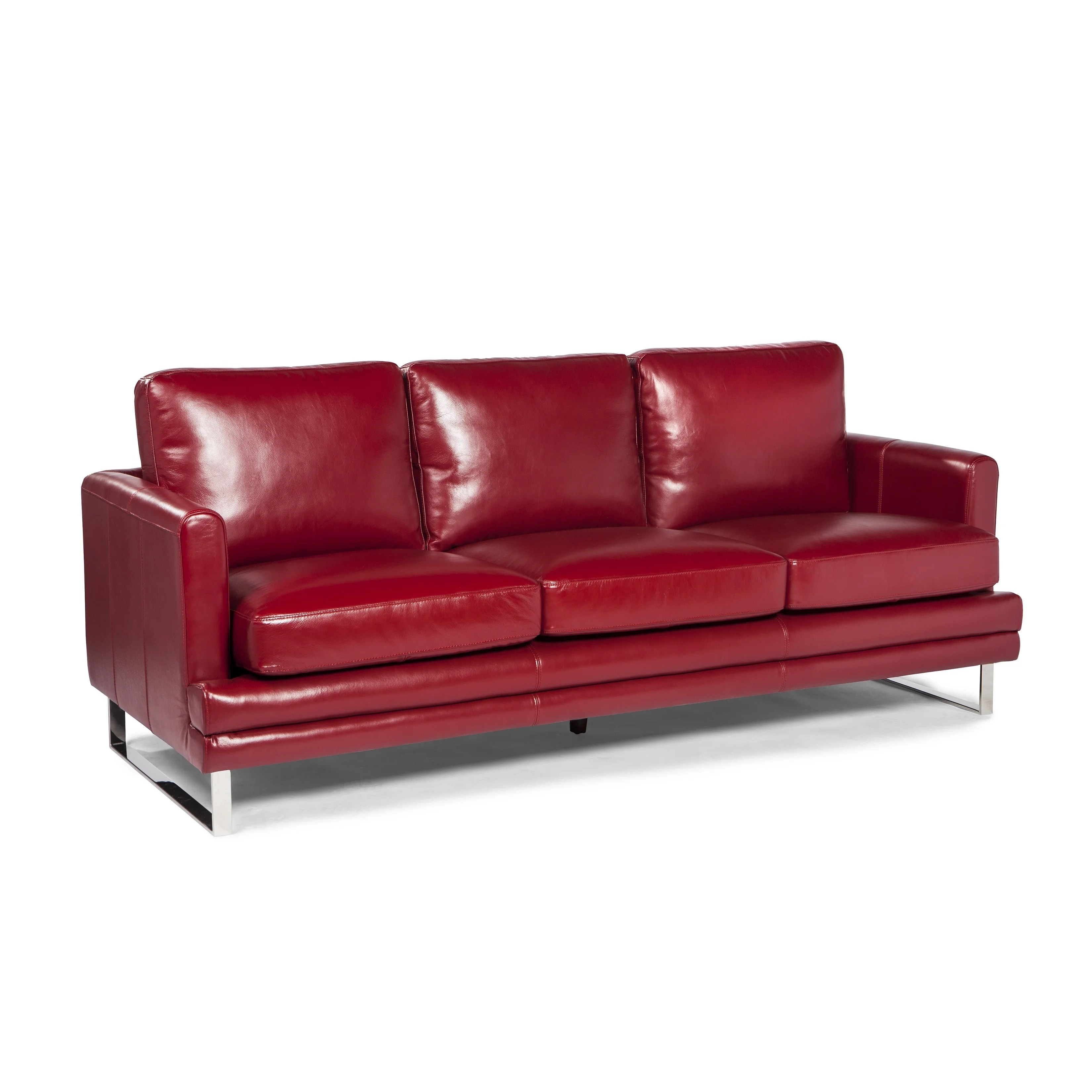 Melbourne Collection Red Leather Sofa By Lazzaro Leather Overstock 14061538
