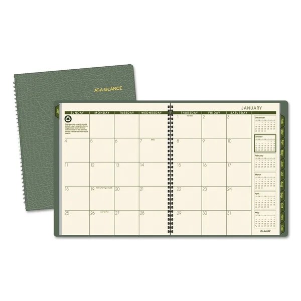 Shop AT-A-GLANCE Recycled Monthly Planner, 9 x 11, Green, 2018-2019