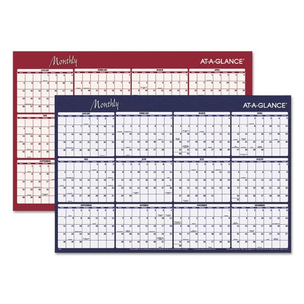 AT-A-GLANCE Reversible Horizontal Erasable Wall Planner, 48 x 32